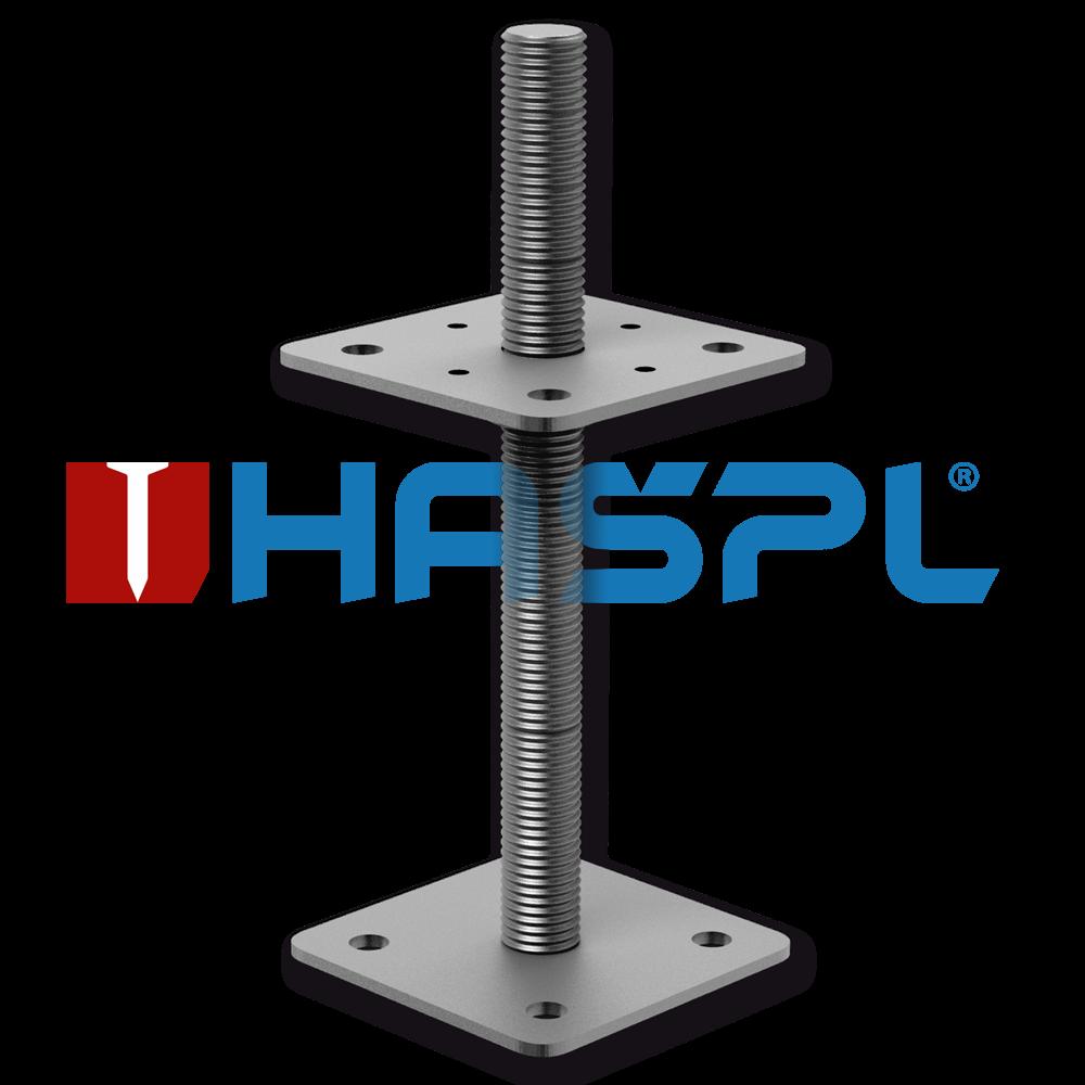 Kotevní šroubovací patka pilíře 110x110x200x4 mm M24 stavitelná patka