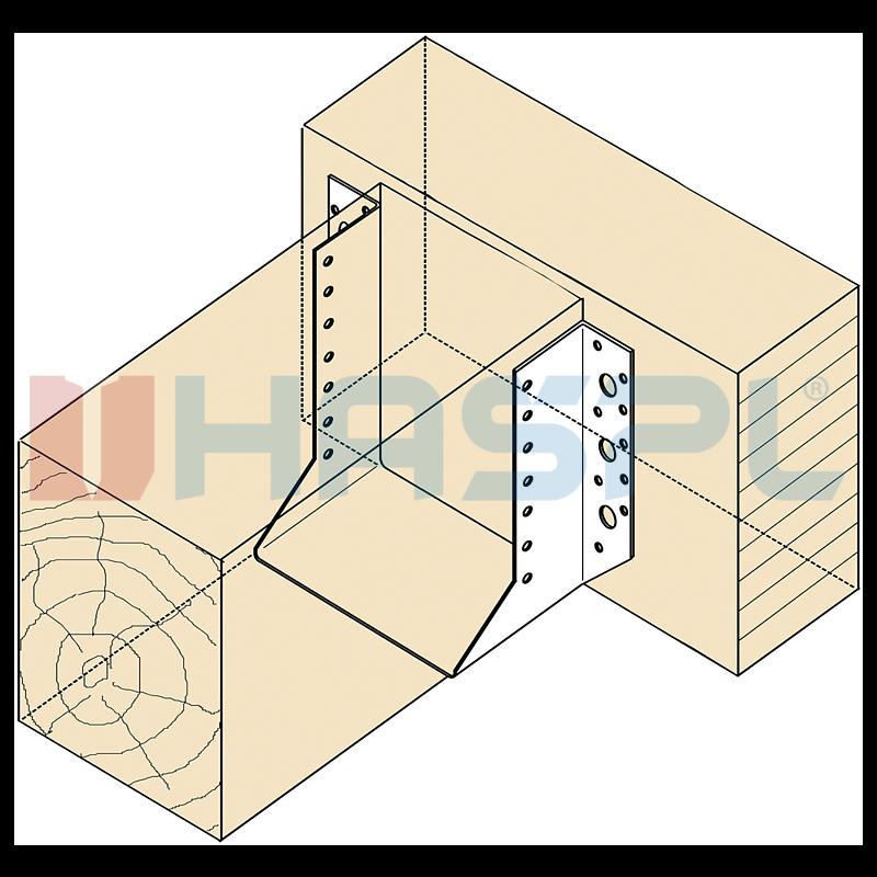 Trámová botka - tesařský třmen Typ1 120x120x2 mm žárový zinek