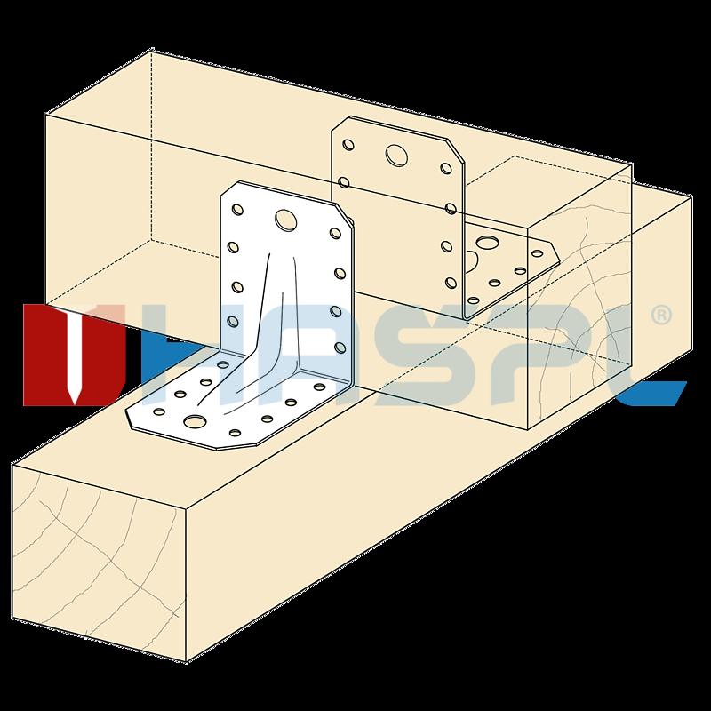 Tesařský úhelník 90° Typ4 Prolis 65x90x90x2,5 mm žárový zinek